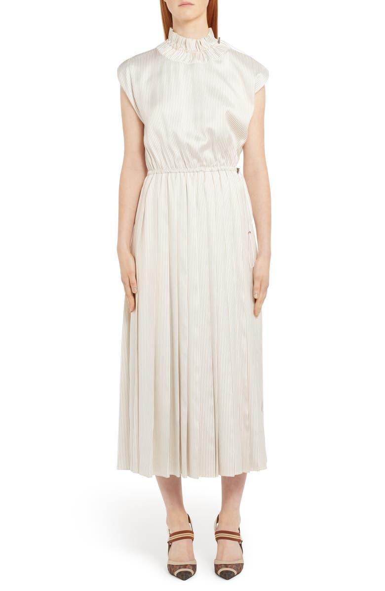 FENDI Pinstripe Drawcord Detail Silk Midi Dress, Main, color, WHITE