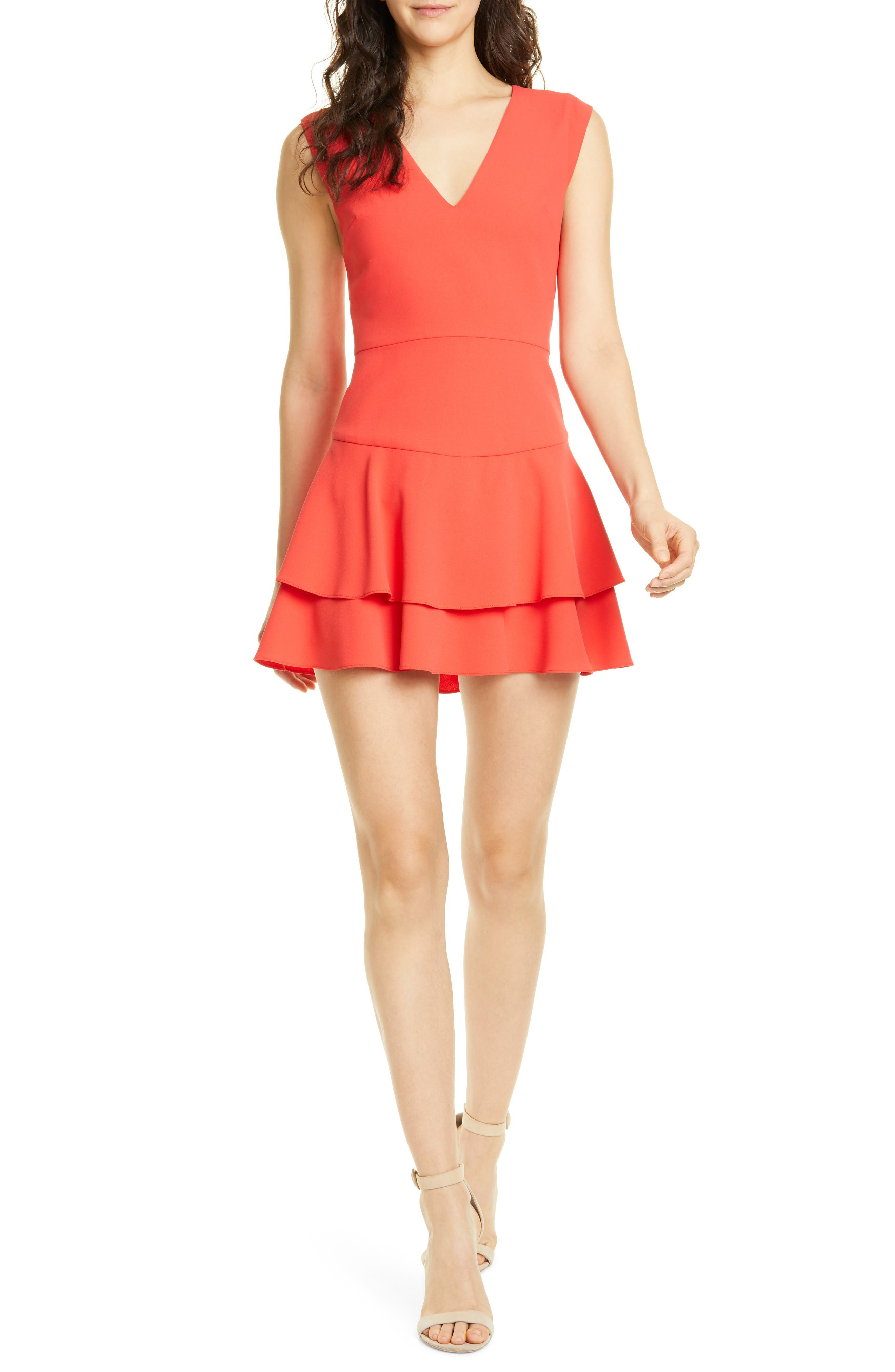 Alice + Olivia Palmira Double Ruffle Fit & Flare Minidress, Red