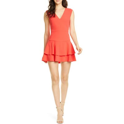 Alice + Olivia Palmira Double Ruffle Fit & Flare Minidress, Red