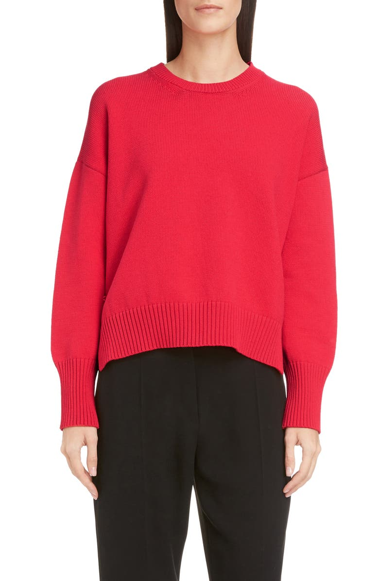 KENZO Intarsia Logo Rib Sweater, Main, color, CORAL