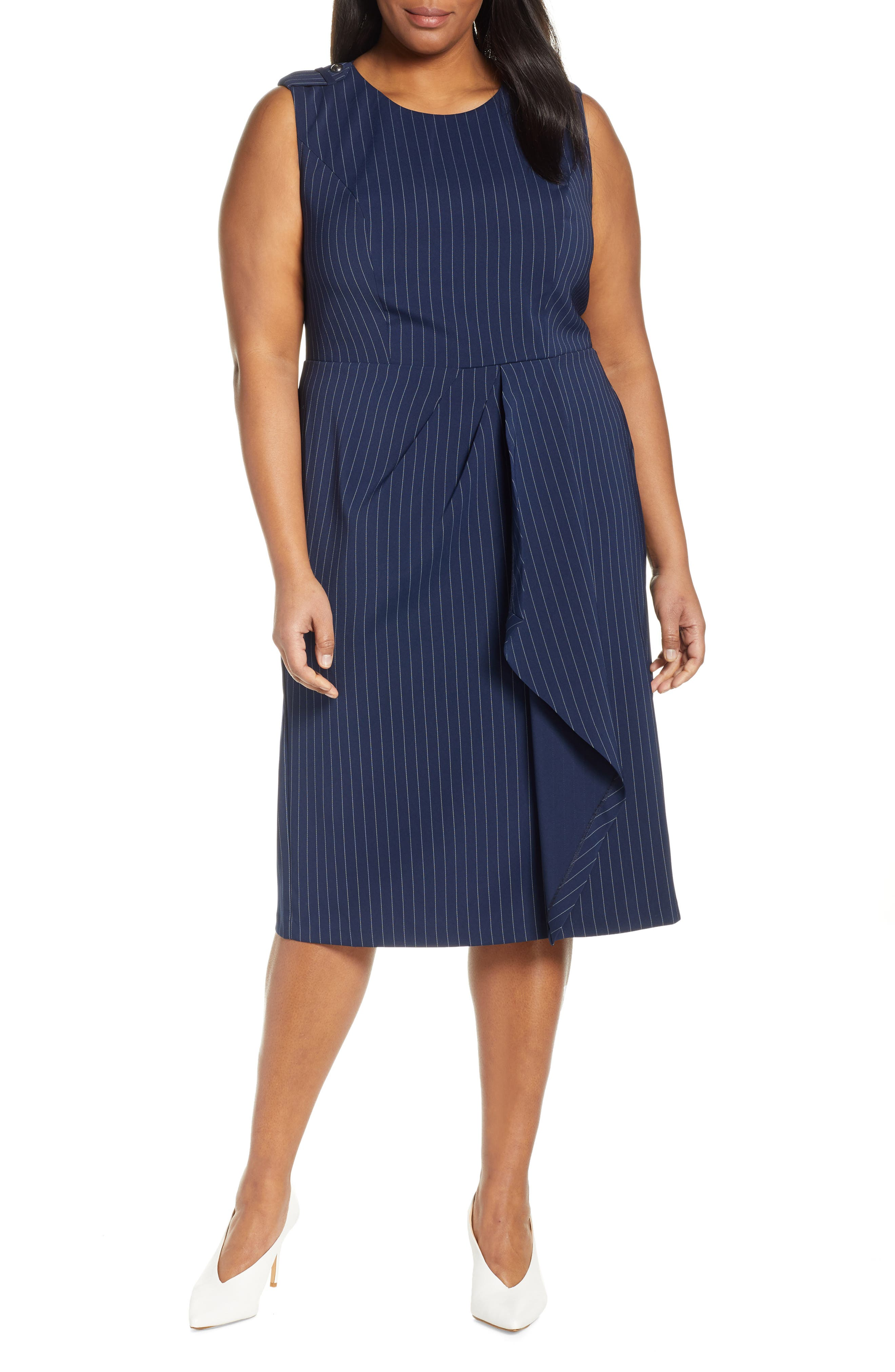Plus Size Jason Wu X Eloquii Pinstripe Origami Sheath Dress, Blue
