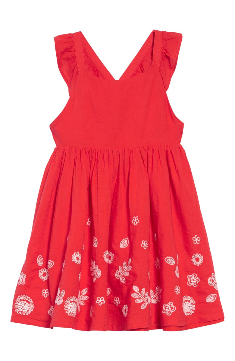 7f2b07ca6aa4 Embroidered Border Cross Back Dress, Main, color, RED STRAWBERRY TART RED