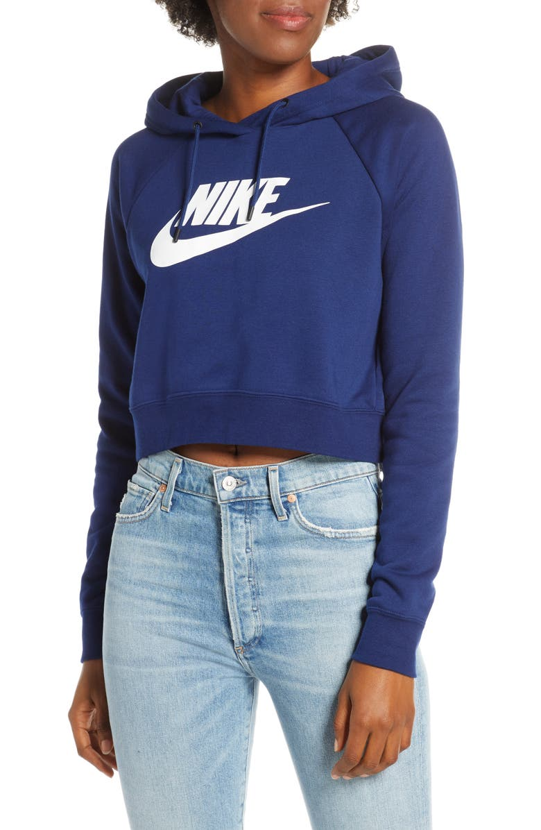 NIKE Sportswear Essential Crop Hoodie, Main, color, BLUE VOID/ WHITE
