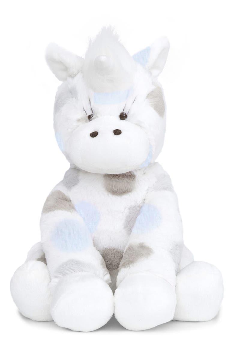 LITTLE GIRAFFE Luxe Plush Little Unicorn Stuffed Animal, Main, color, BLUE