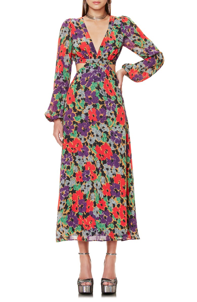 AFRM Lowell Long Sleeve Floral Print Dress, Main, color, 001