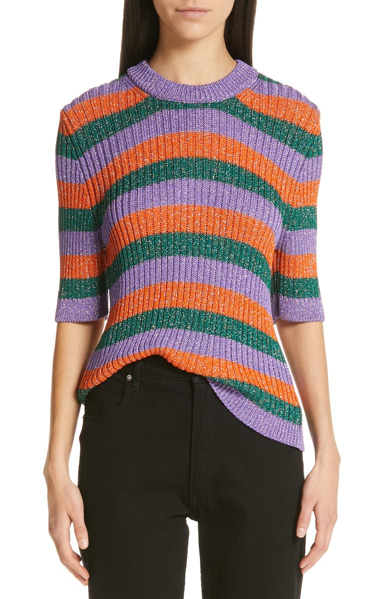 GANNI Metallic Stripe Sweater, Main, color, 500