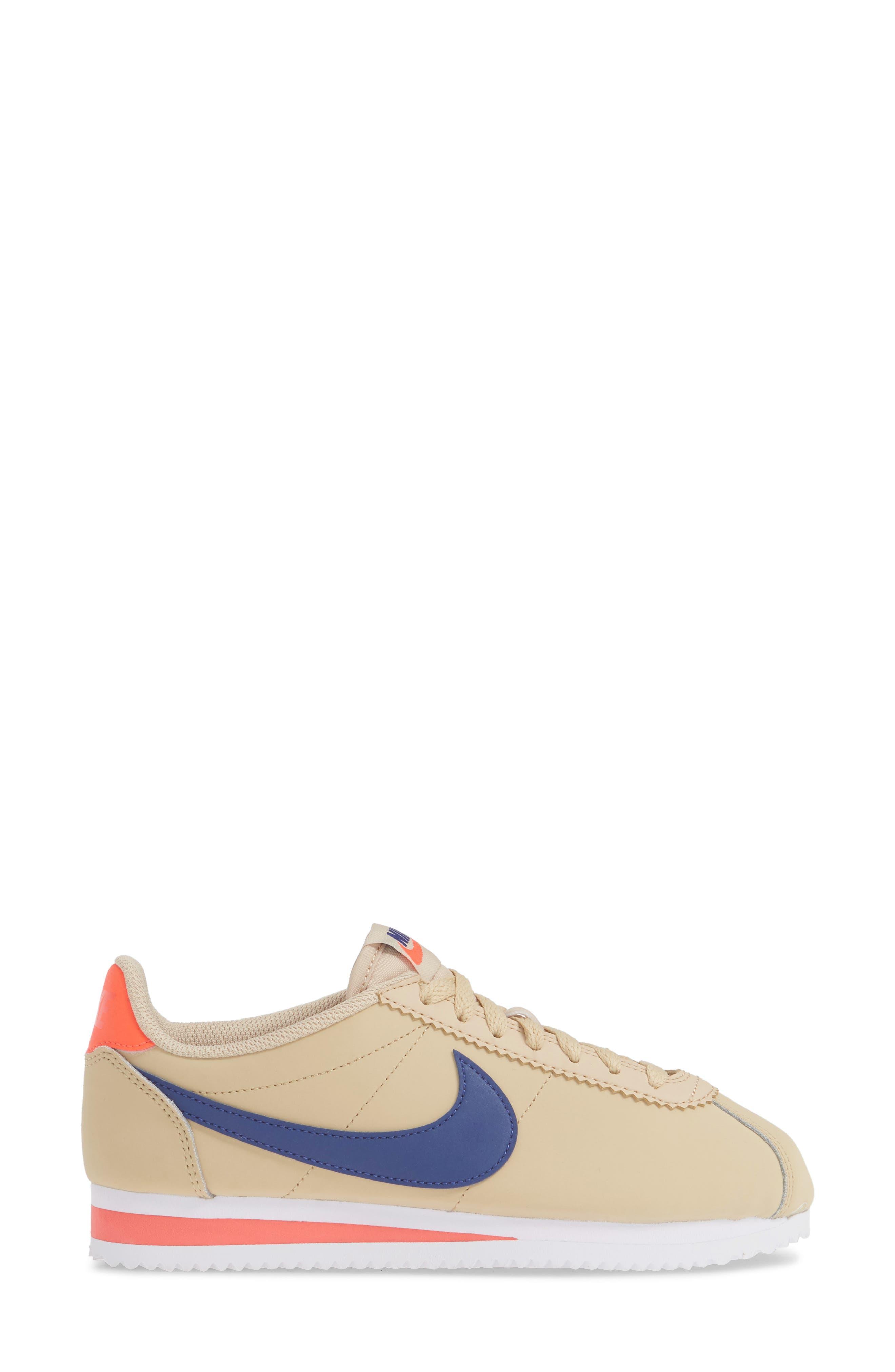 ,                             Classic Cortez Sneaker,                             Alternate thumbnail 3, color,                             DESERT ORE/ DEEP ROYAL BLUE