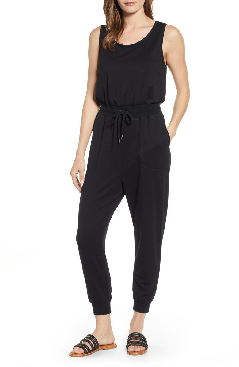 CASLON<SUP>®</SUP> Sleeveless Jumpsuit, Main, color, 001