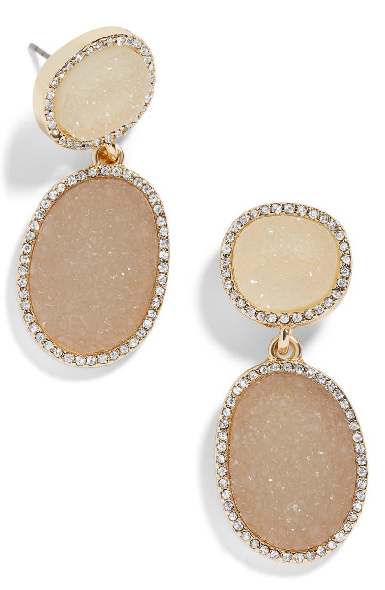 BAUBLEBAR Krystal Faux Druzy Drop Earrings, Main, color, BLUSH