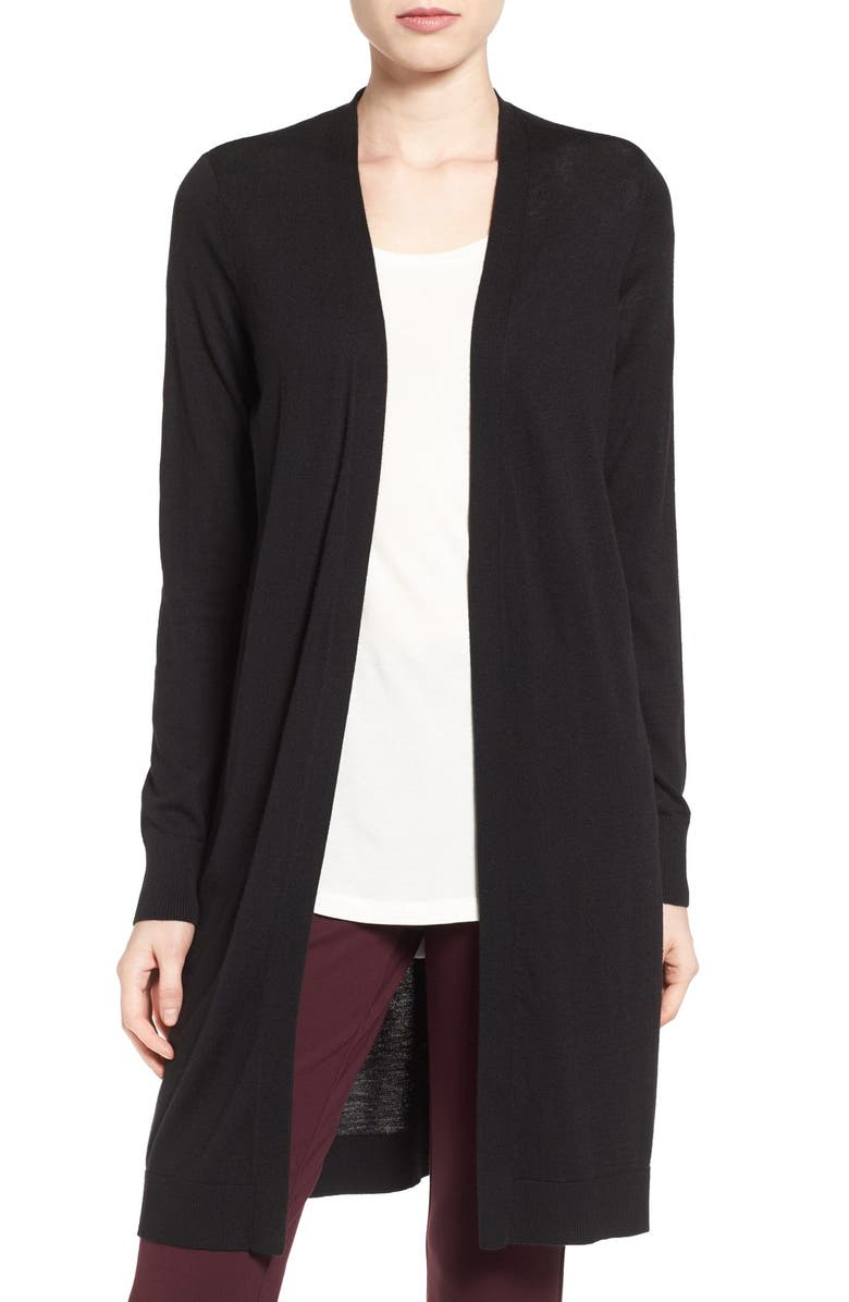 HALOGEN<SUP>®</SUP> Long Side Slit Cardigan, Main, color, 001