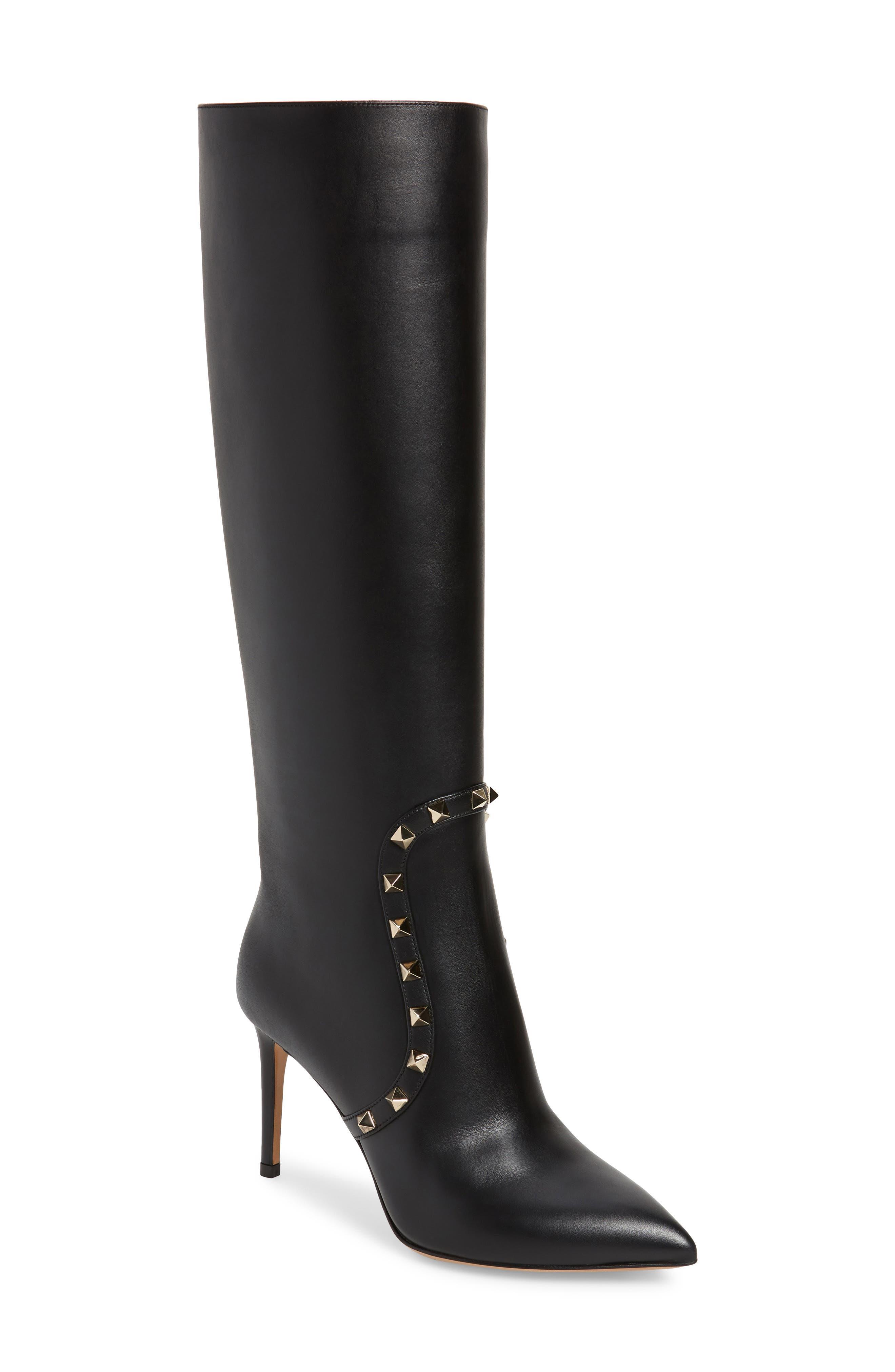 Valentino Garavani Rockstud Knee High Pointed Toe Boot
