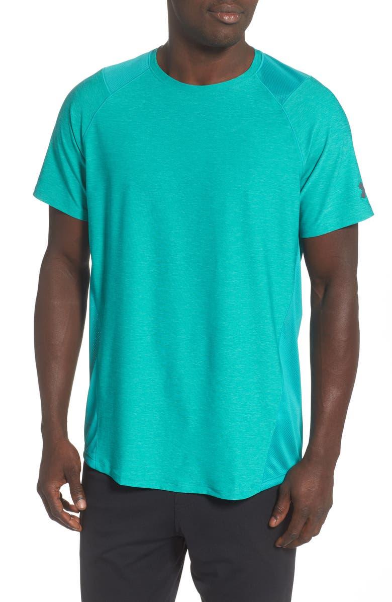 UNDER ARMOUR Raid 2.0 Crewneck T-Shirt, Main, color, TEAL RUSH/ PITCH GREY