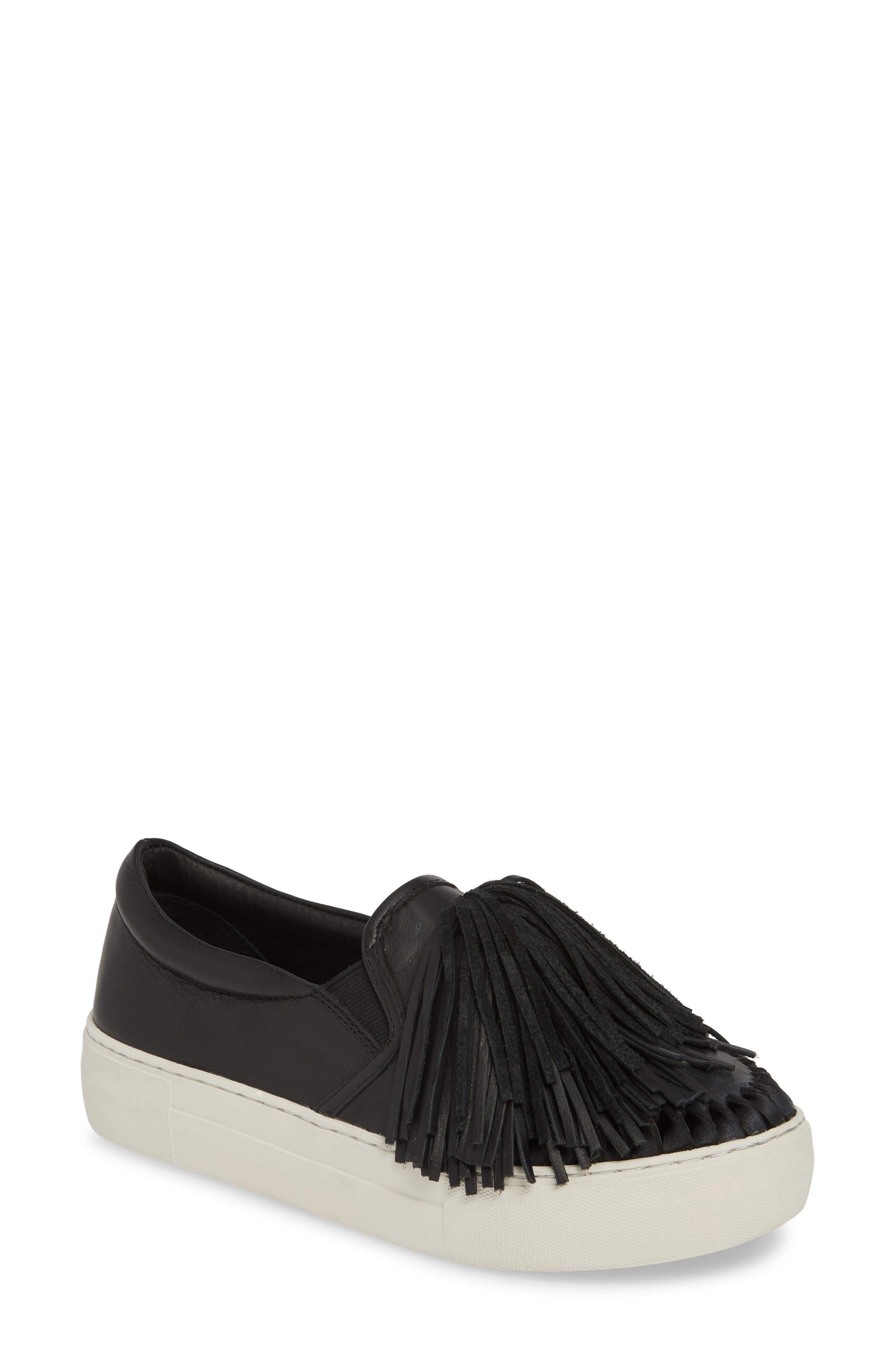 Jslides Aria Fringe Slip-On Platform Sneaker, Black