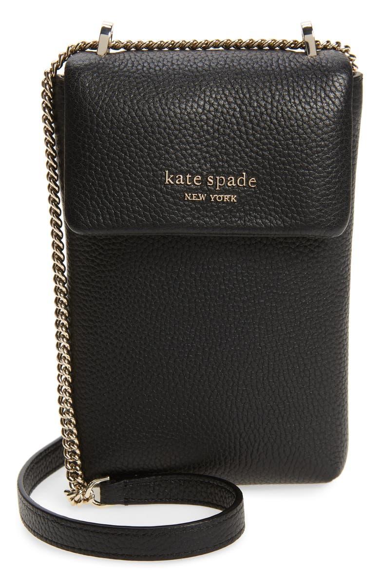 KATE SPADE NEW YORK bradley pebbled leather crossbody, Main, color, BLACK