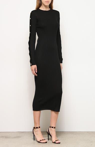 Long Sleeve Wool Rib Midi Sweater Dress, video thumbnail