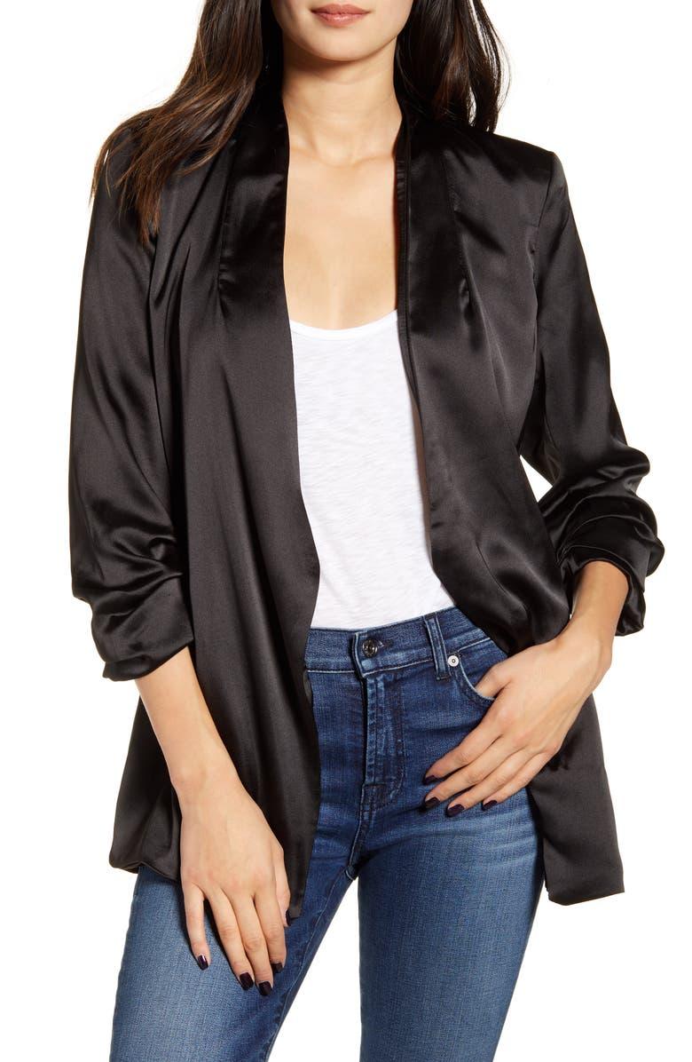 BISHOP + YOUNG Satin Blazer, Main, color, BLACK