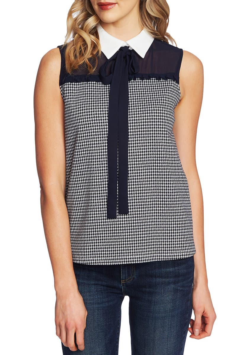 CECE Houndstooth Bow Neck Collared Blouse, Main, color, 400