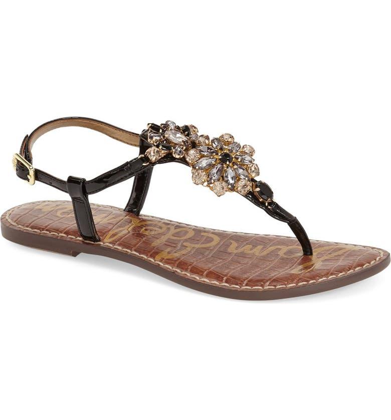 SAM EDELMAN 'Grayson' Crystal Flower Flat Sandal, Main, color, 001