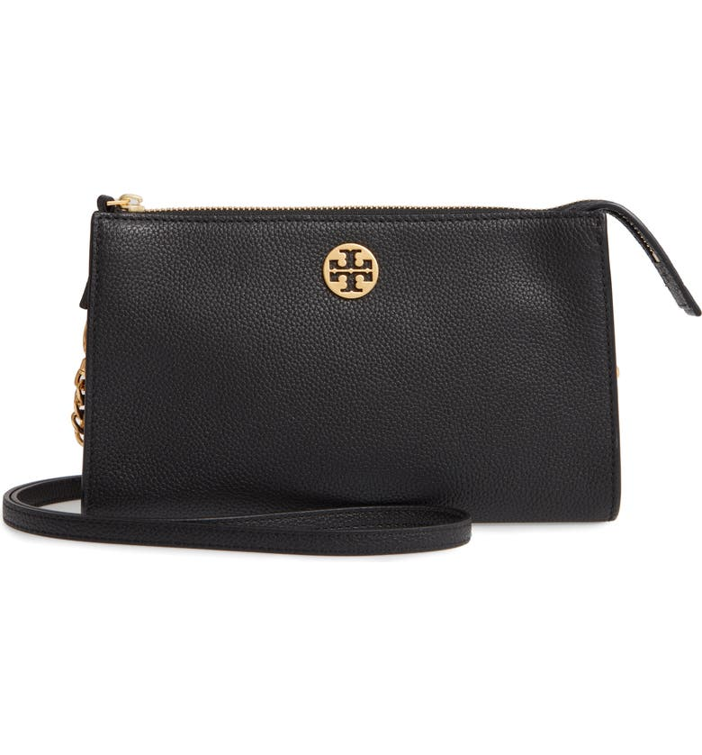 TORY BURCH Mini Everly Leather Crossbody Bag, Main, color, BLACK