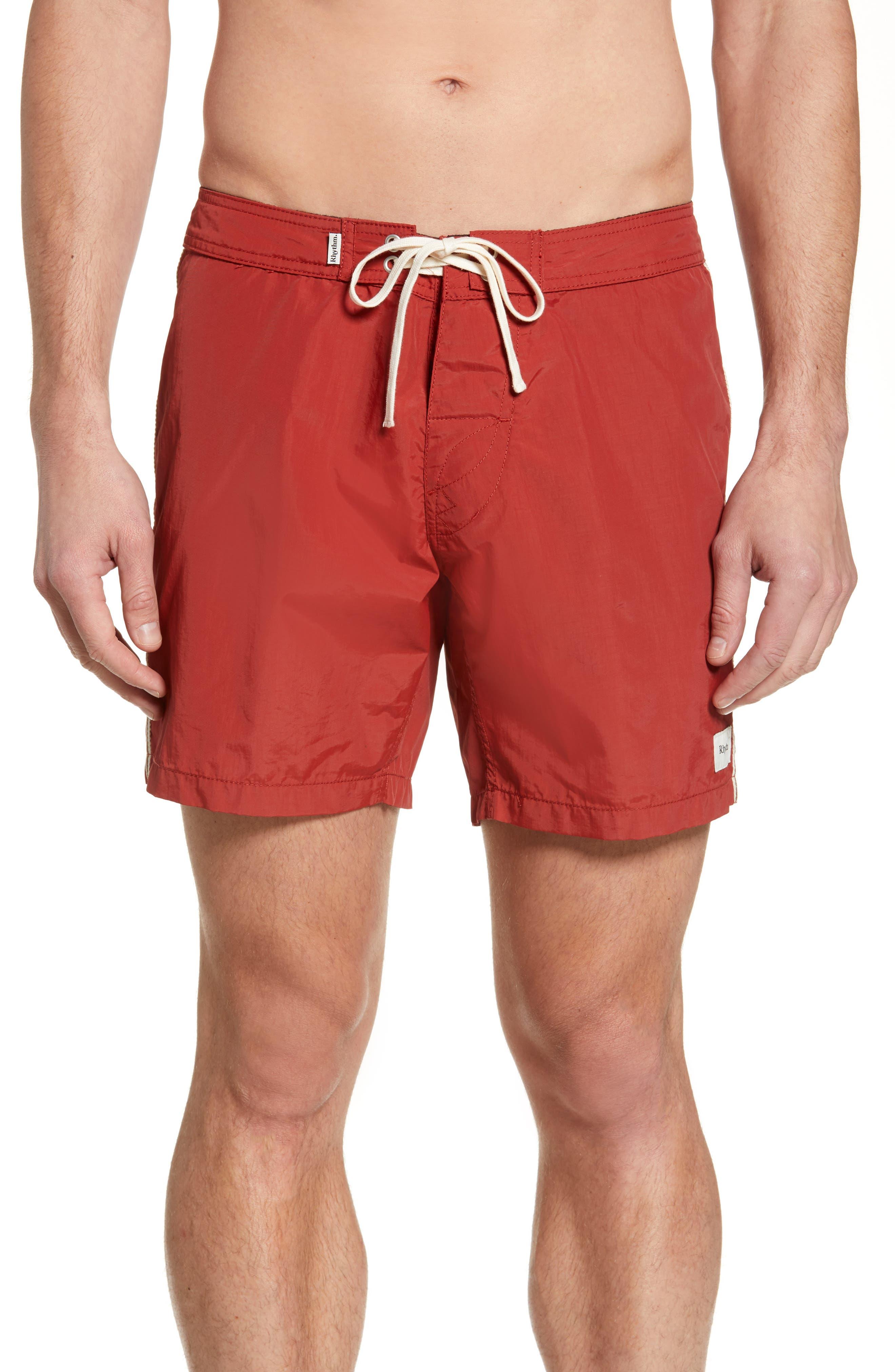 Rhythm Classic Solid Swim Trunks, Red