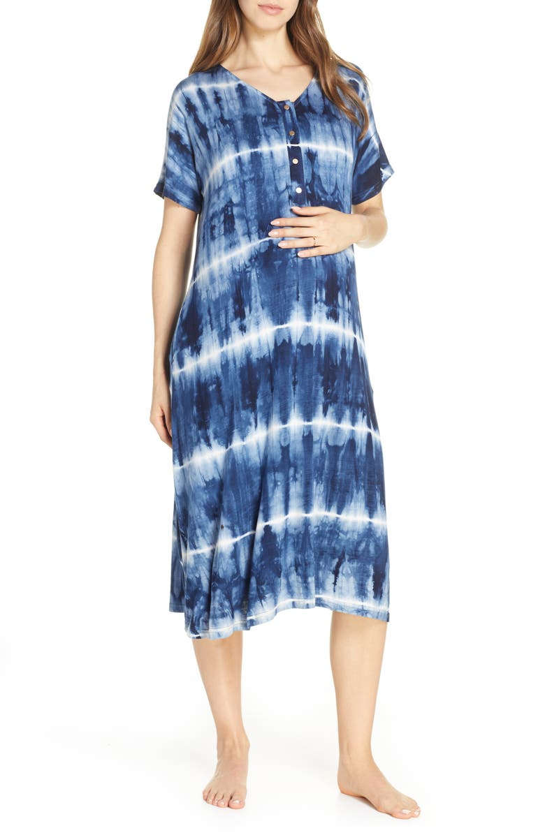 NESTING OLIVE Tie-Dye Maternity/Nursing Sleep Shirt, Main, color, PATTERN- NAVY AND WHITE