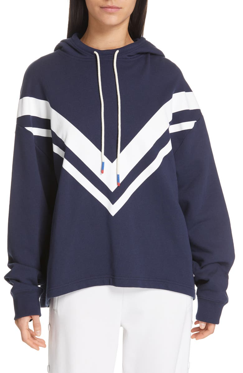 TORY SPORT Chevron French Terry Hoodie, Main, color, TORY NAVY
