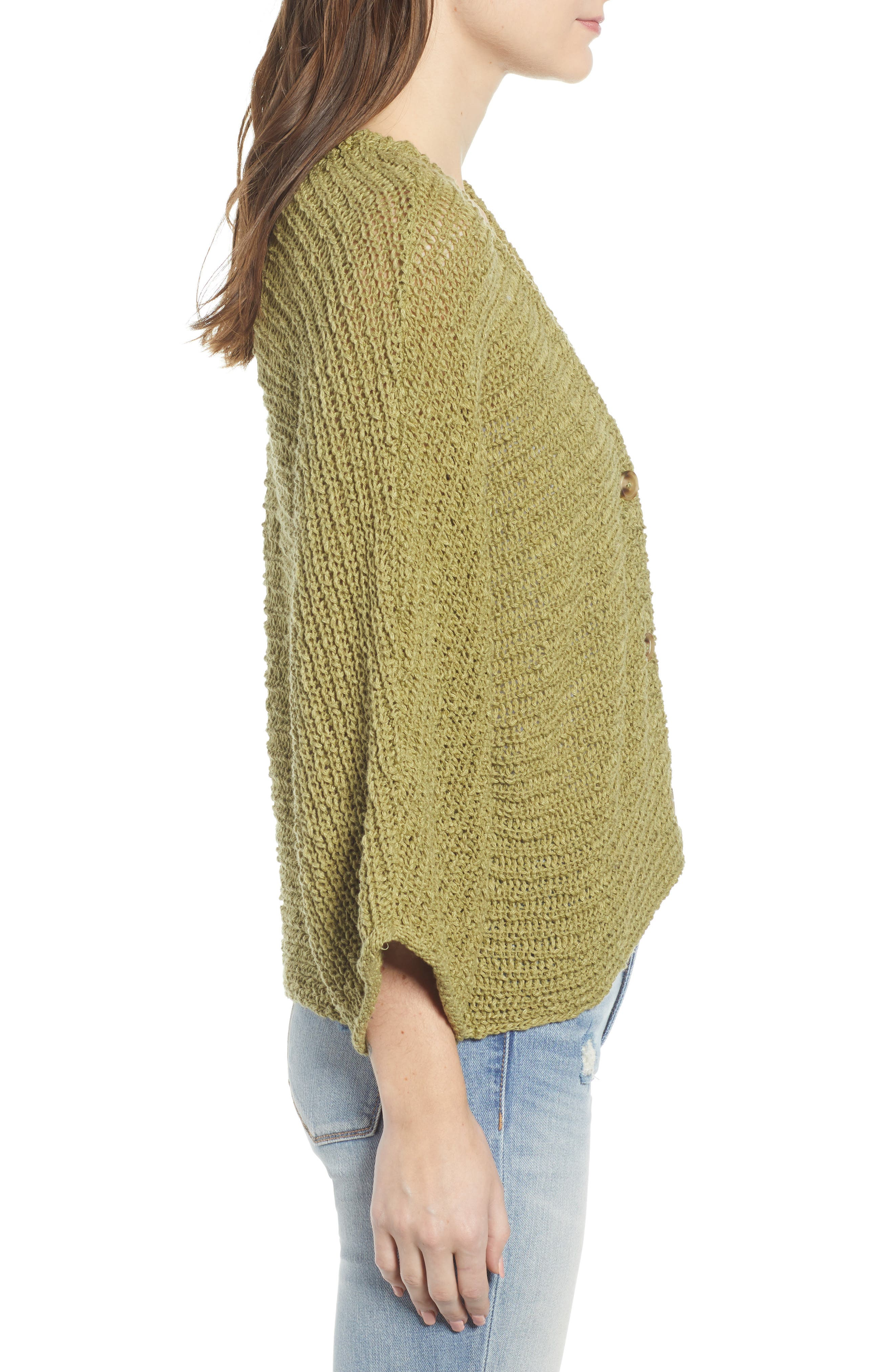 ,                             Dolman Sleeve Button Front Cardigan,                             Alternate thumbnail 5, color,                             OLIVE EMERALD