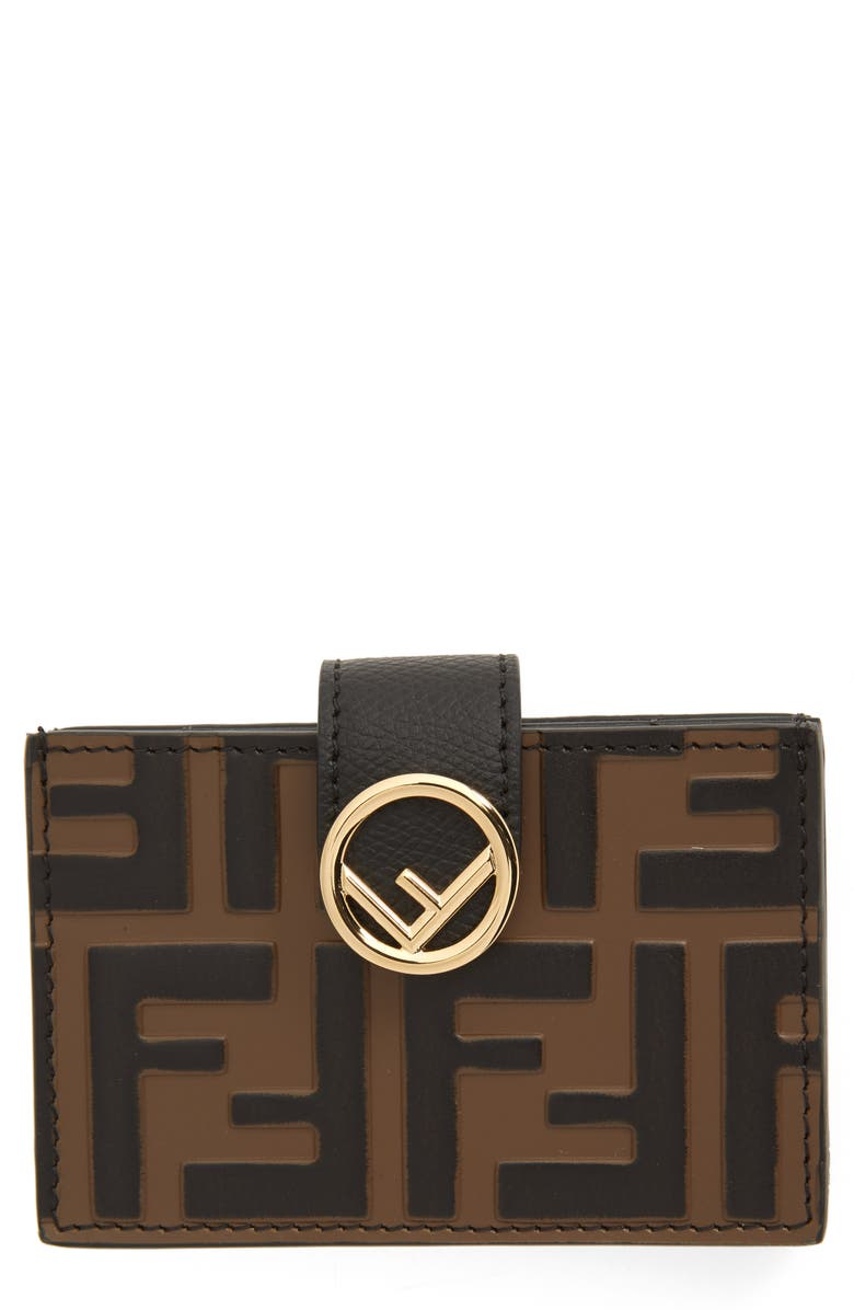 FENDI Logo Accordion Leather Card Case, Main, color, 005