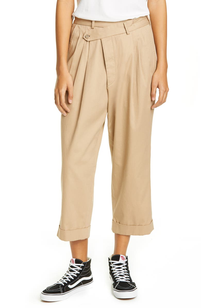 R13 Pleated Crossover Pants, Main, color, KHAKI