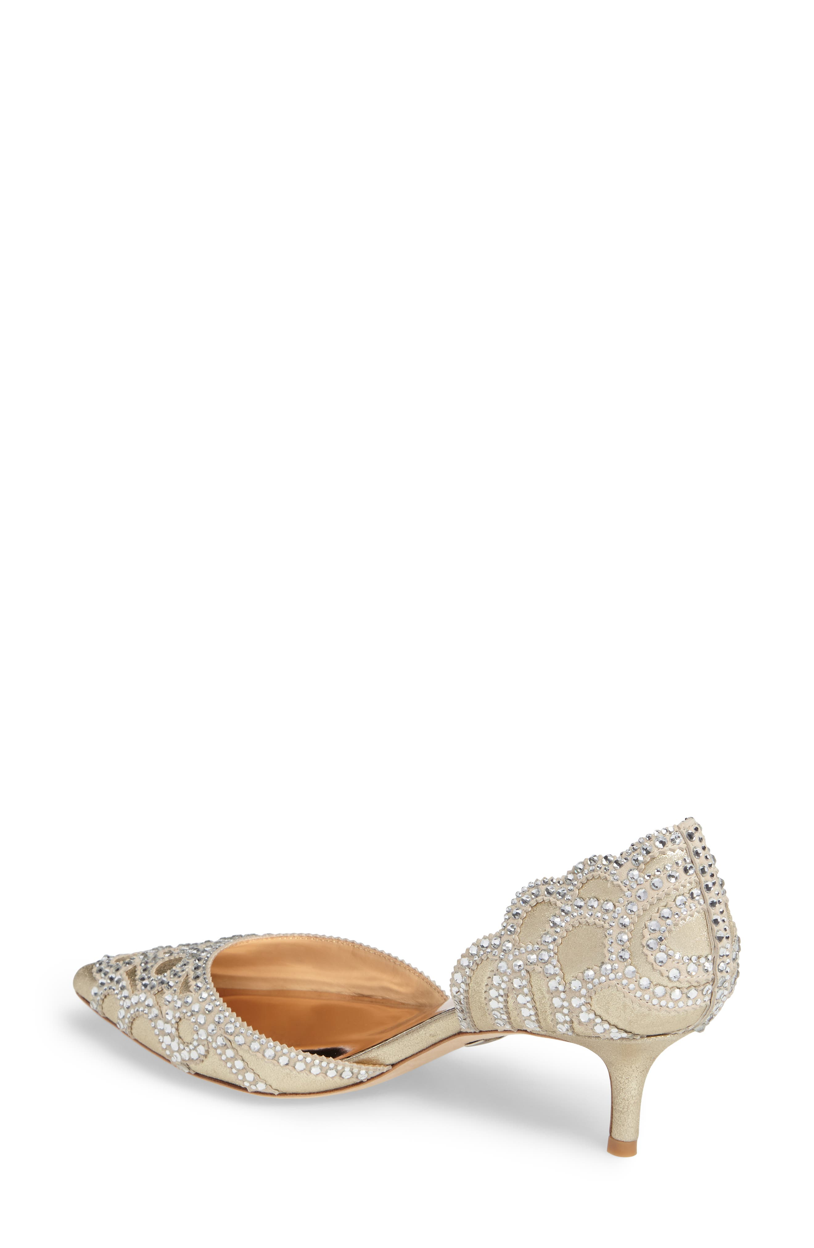 ,                             Badgley Mischka 'Ginny' Embellished d'Orsay Pump,                             Alternate thumbnail 2, color,                             PLATINO METALLIC SUEDE