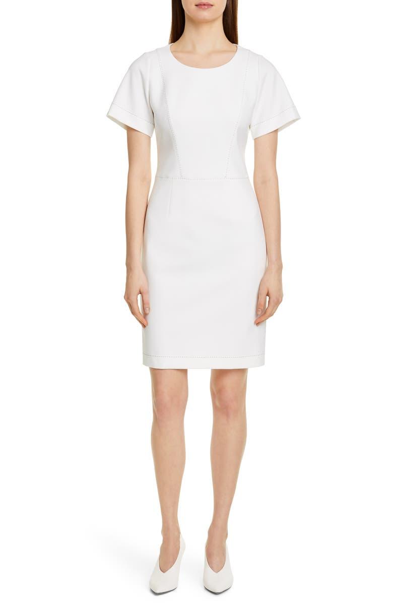 HUGO Kajessi Topstitch Sheath Dress, Main, color, WHITE