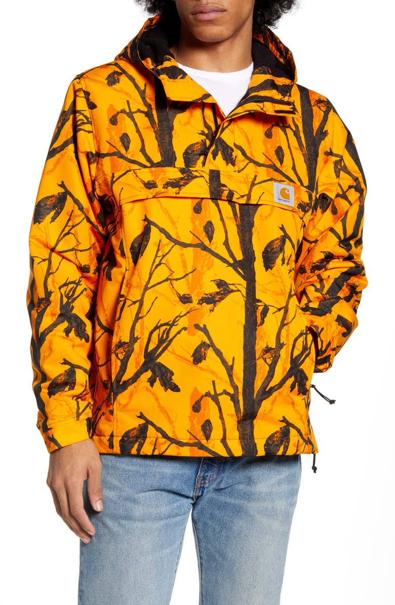 CARHARTT WORK IN PROGRESS Nimbus Hooded Anorak, Main, color, CAMO TREE/ ORANGE