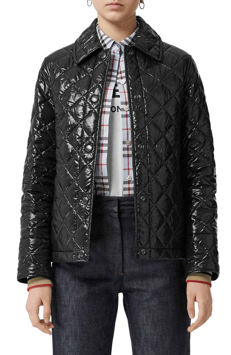 BURBERRY Heathfield Frinton Knit Cuff Quilted Jacket, Main, color, 001