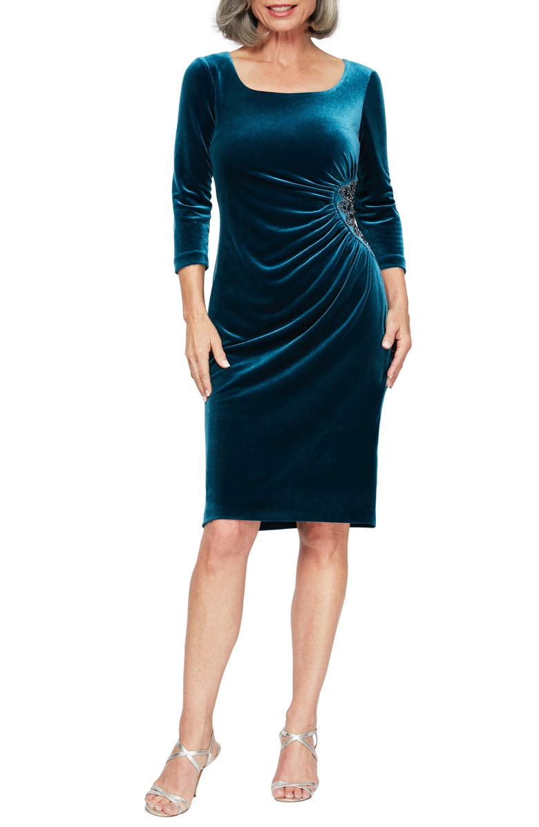 ALEX EVENINGS Side Ruched Velvet Cocktail Dress, Main, color, PEACOCK
