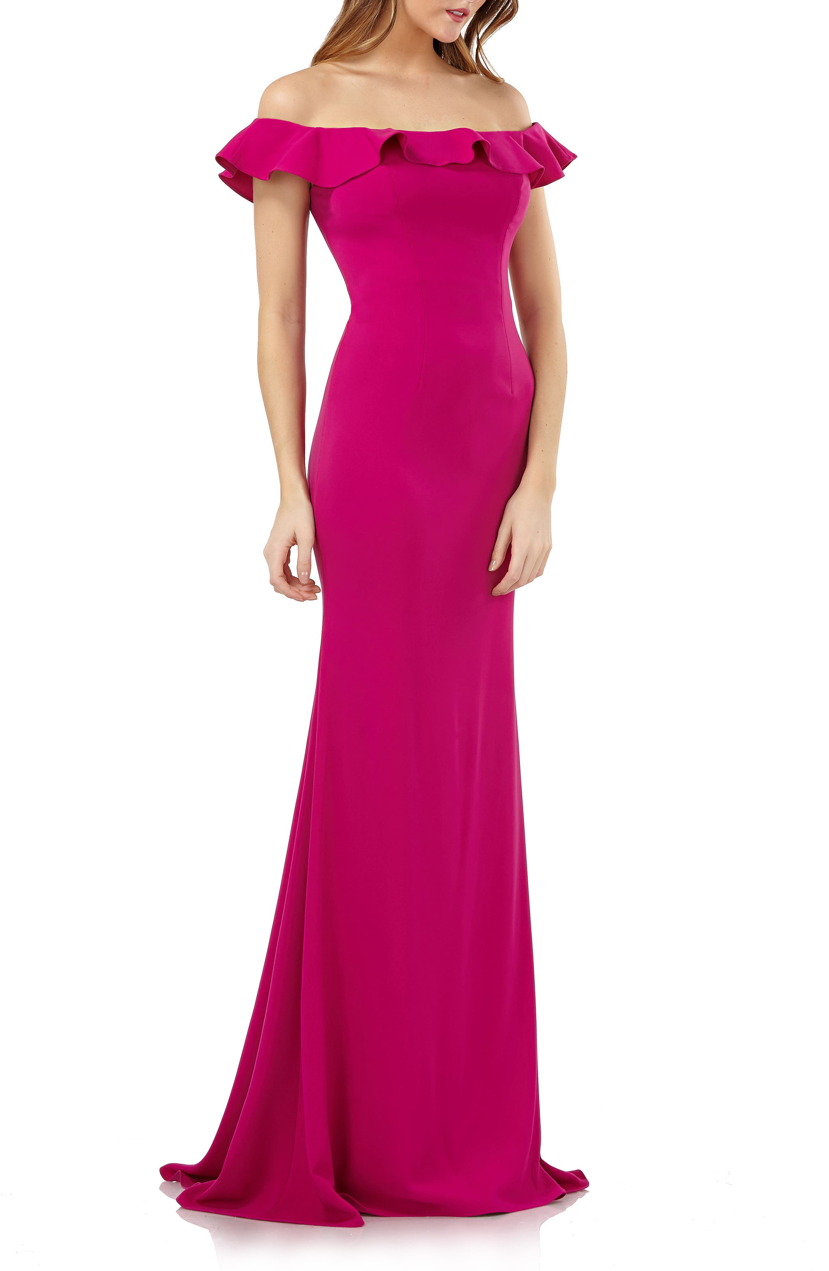 Carmen Marc Valvo Infusion Off The Shoulder Ruffle Neck Gown, Pink