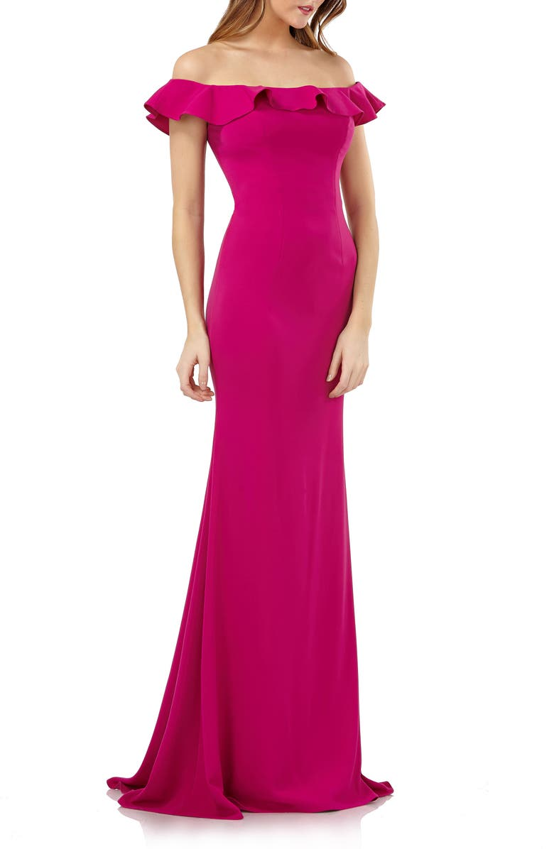 CARMEN MARC VALVO INFUSION Off the Shoulder Ruffle Neck Gown, Main, color, FUCHSIA