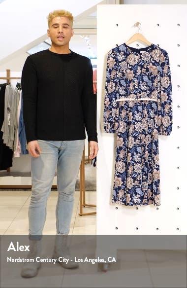 Floral Long Sleeve Pebble Crepe Dress, sales video thumbnail