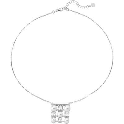 Majorica Simulated Pearl & Crystal Pendant Necklace