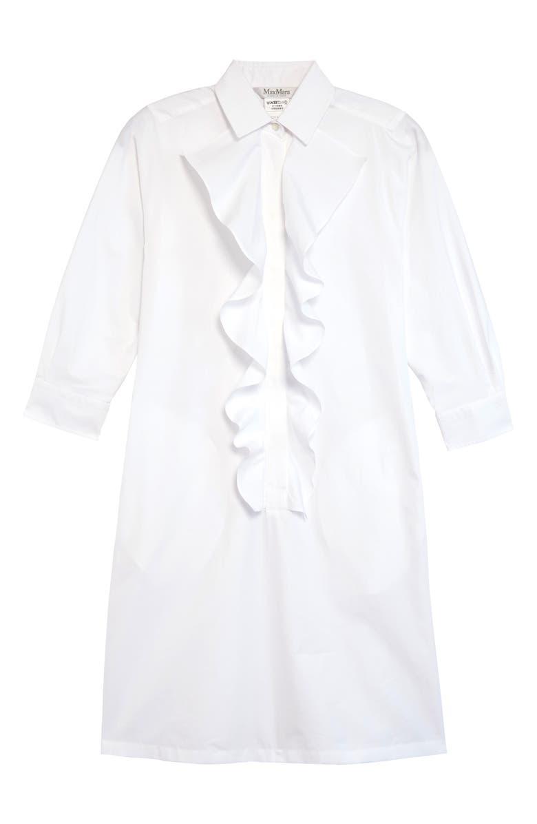 MAX MARA Cinque Ruffle Poplin Shirtdress, Main, color, 101