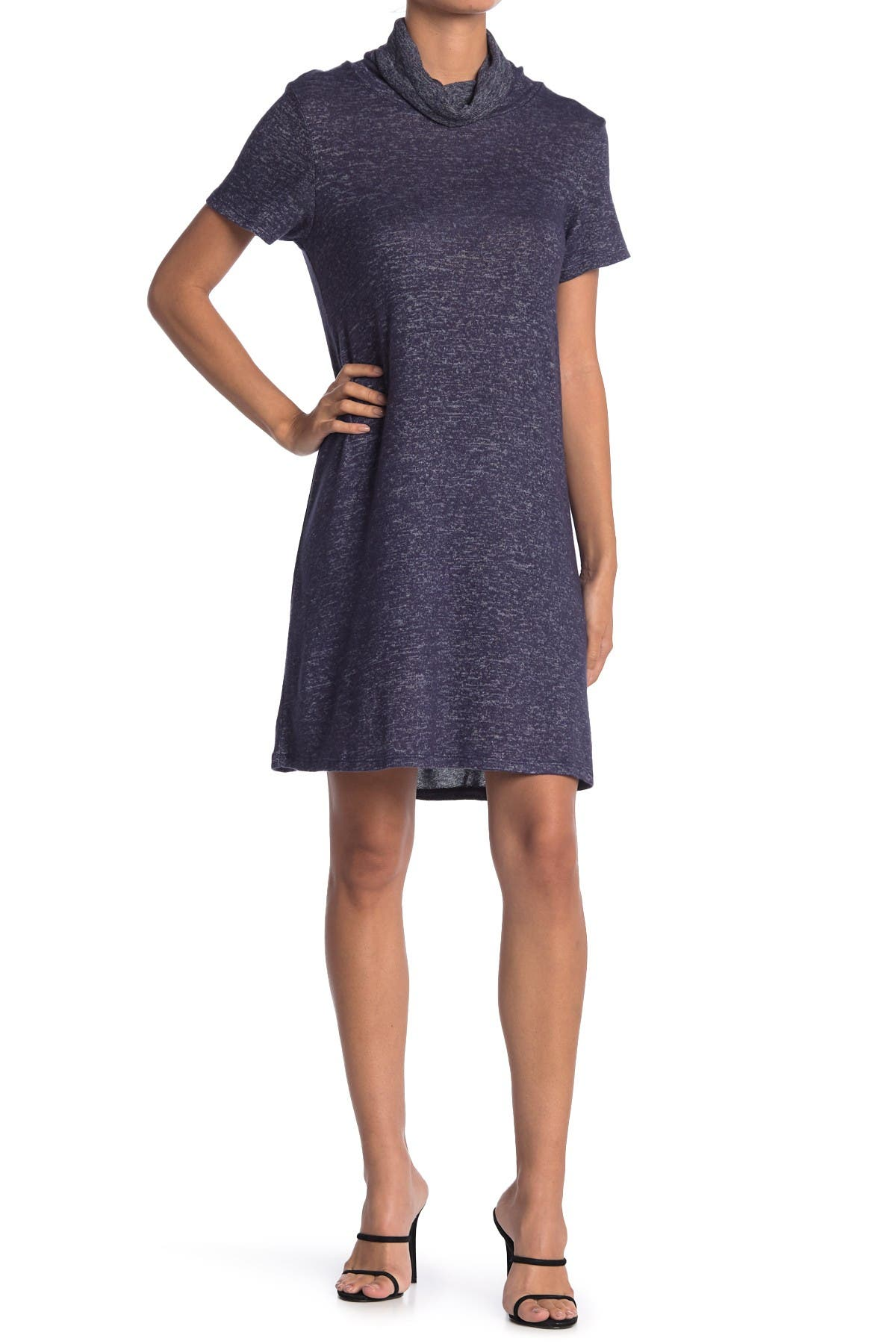 Image of Bobeau Cowl Neck Built-In Face Mask Space Dye Print Sweater Dress
