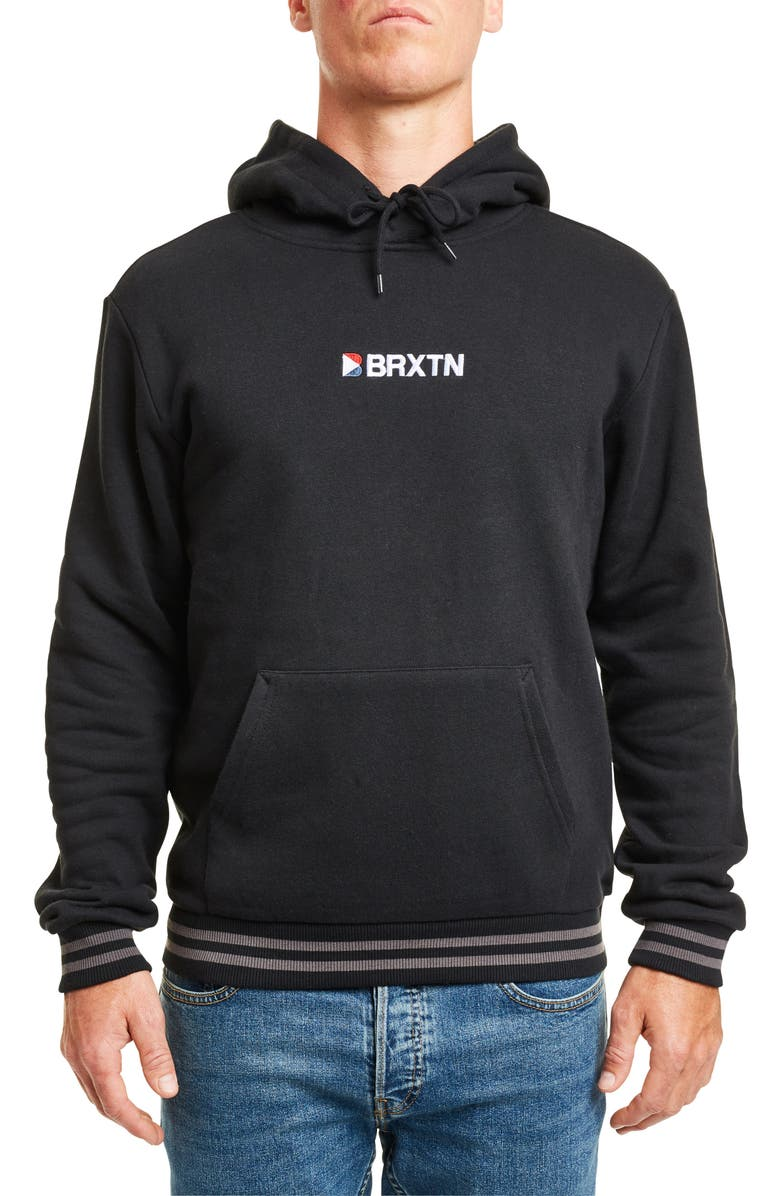 BRIXTON Stowell IV Embroidered Hooded Sweatshirt, Main, color, BLACK