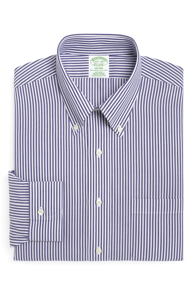 BROOKS BROTHERS Milano Slim Fit Stripe Dress Shirt, Main, color, BLUE