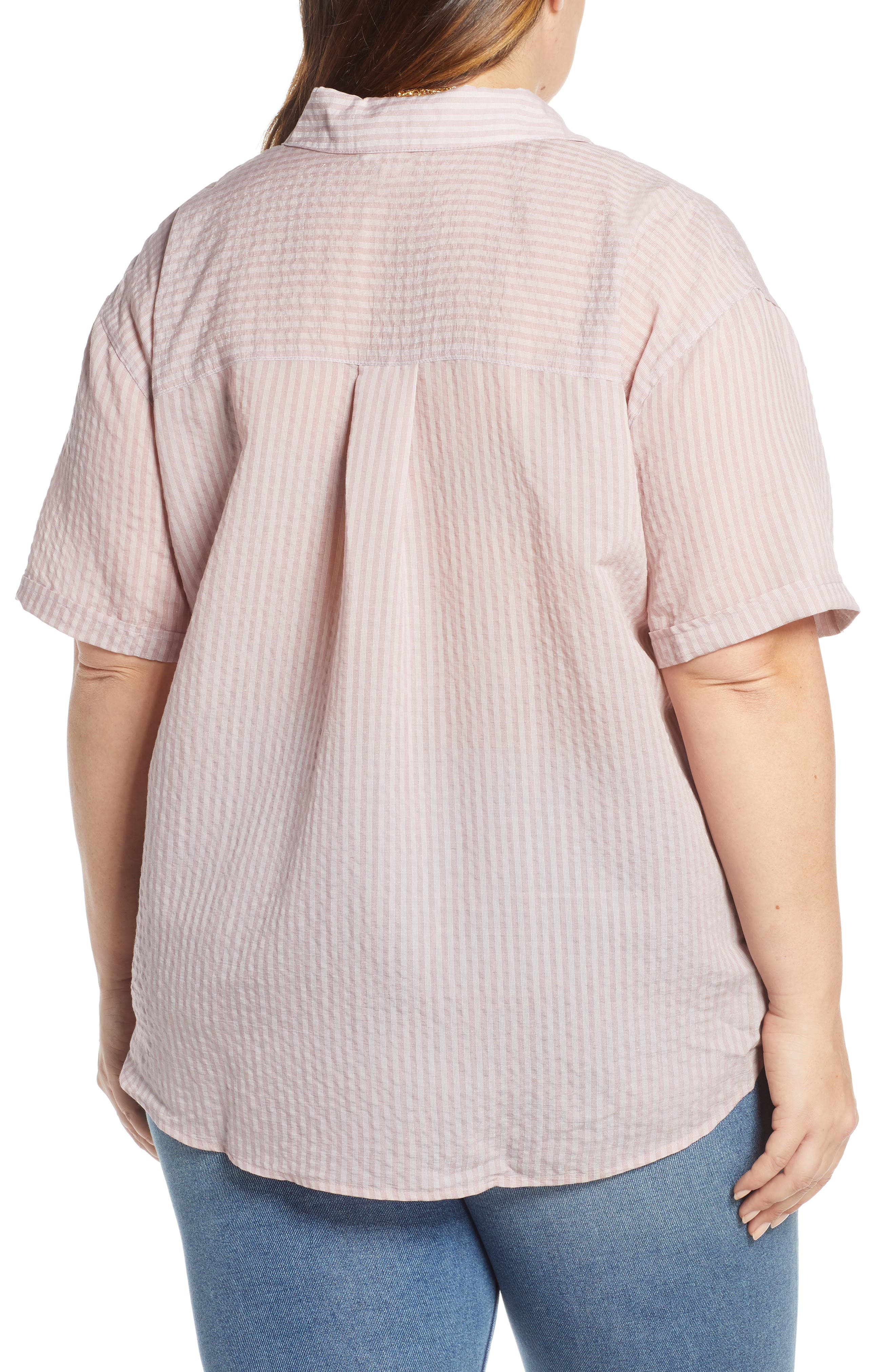 ,                             Stripe Short Sleeve Shirt,                             Alternate thumbnail 4, color,                             PINK CANYON CLOUD STRIPE