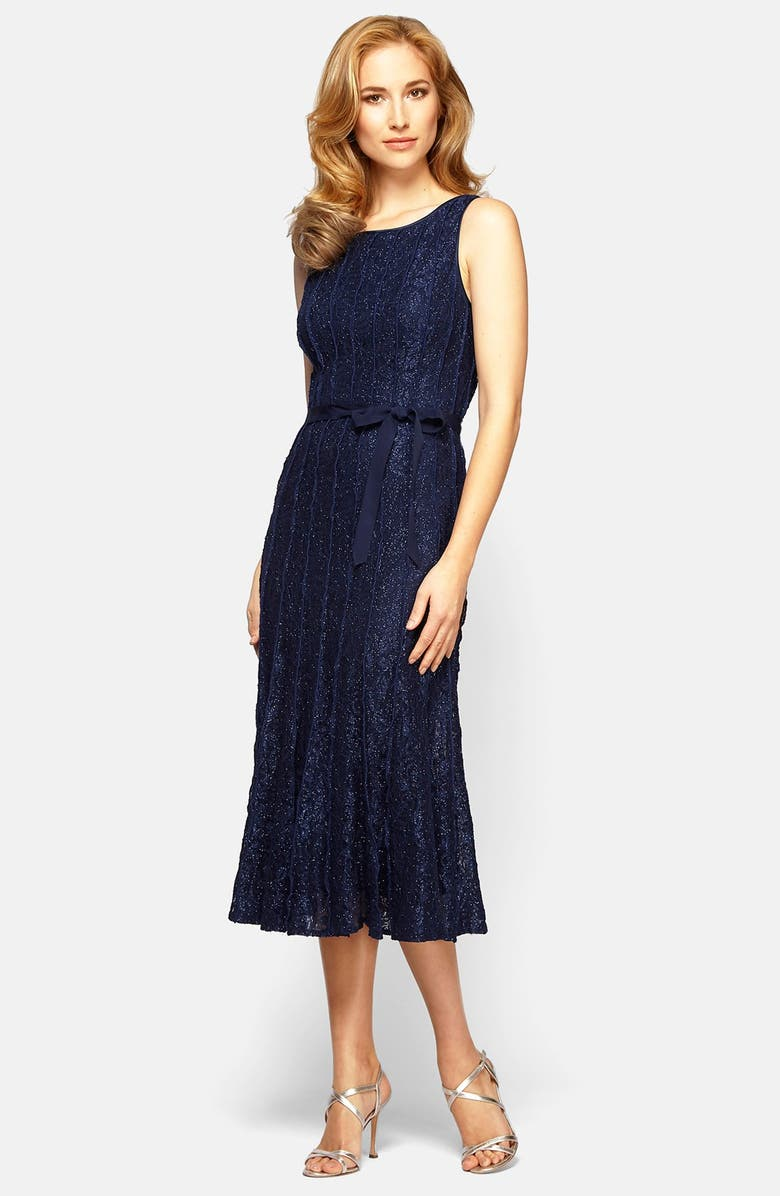 Alex Evenings Glitter Lace A Line Midi Dress Nordstrom