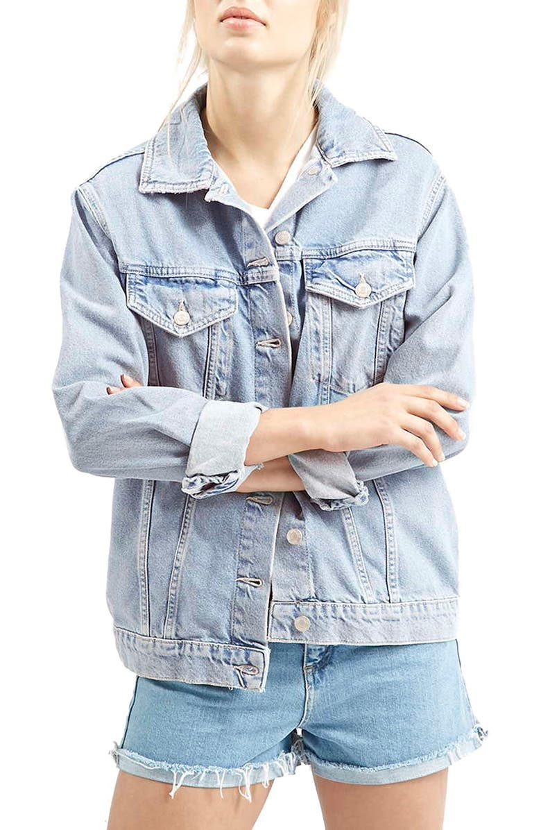 TOPSHOP Western Denim Jacket, Main, color, 400