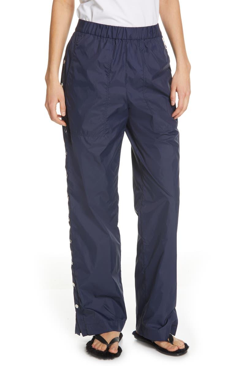 TIBI Side Snap Nylon Track Pants, Main, color, NAVY