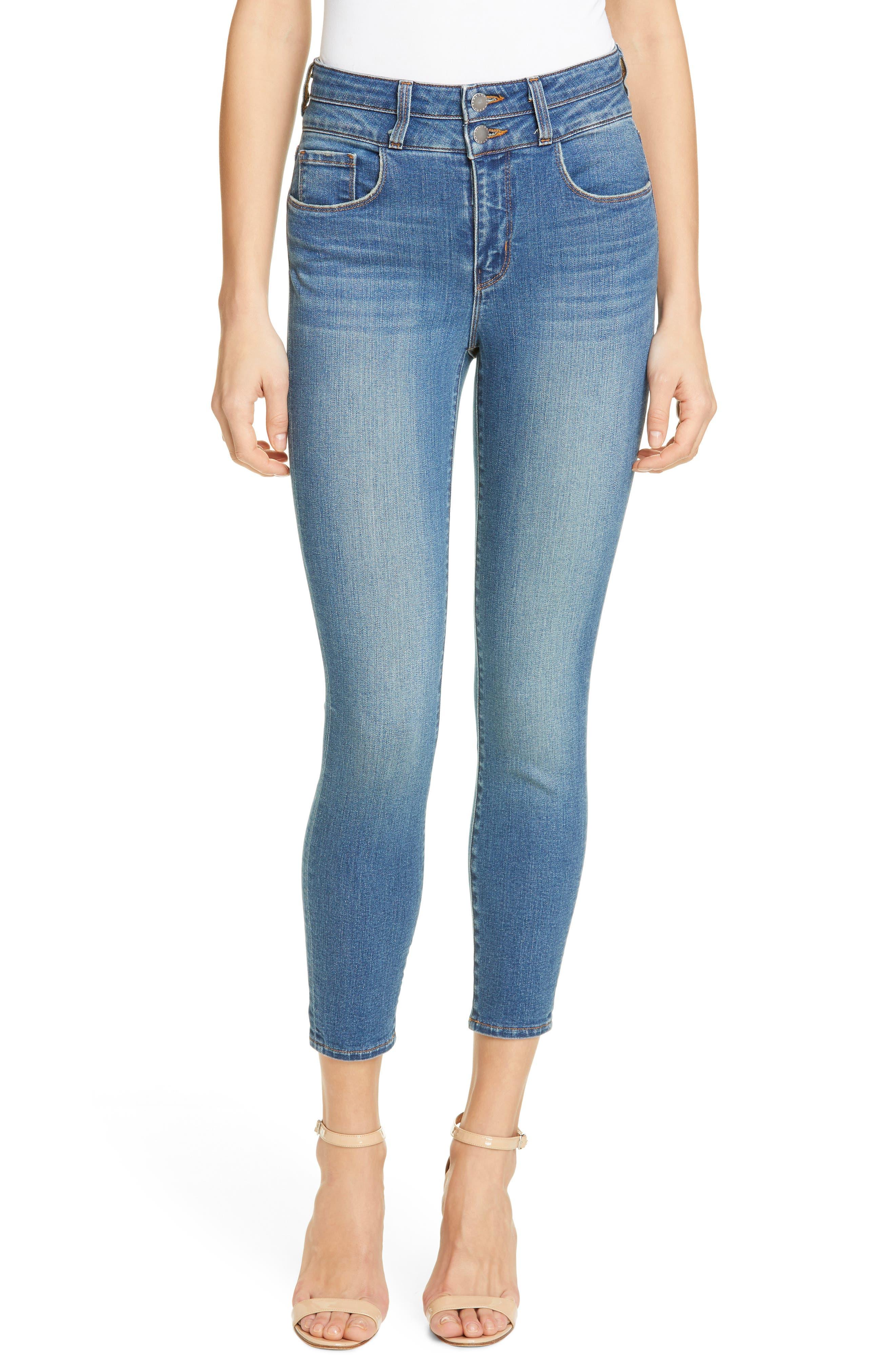 L'agence Denims Peyton High Waist Crop Skinny Jeans