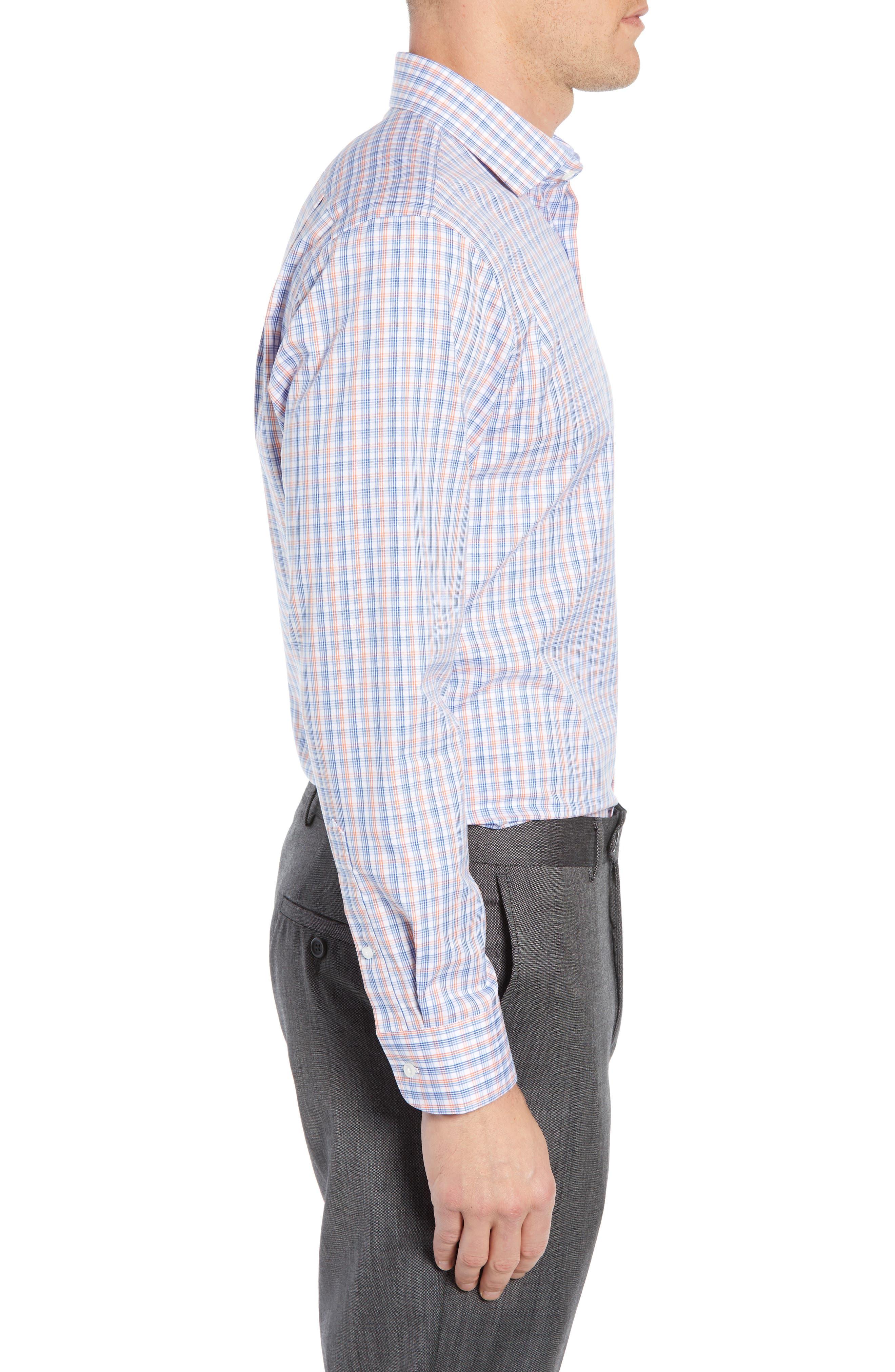 ,                             Trim Fit Non-Iron Plaid Dress Shirt,                             Alternate thumbnail 4, color,                             CORAL REEF
