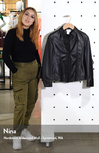 Ruffle Detail Perforated Leather Jacket, sales video thumbnail