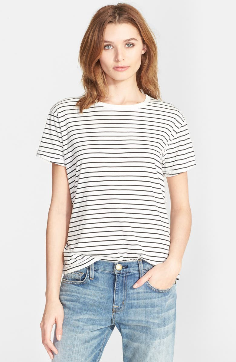 CURRENT/ELLIOTT 'The Sophomore' Stripe Cotton Tee, Main, color, 004
